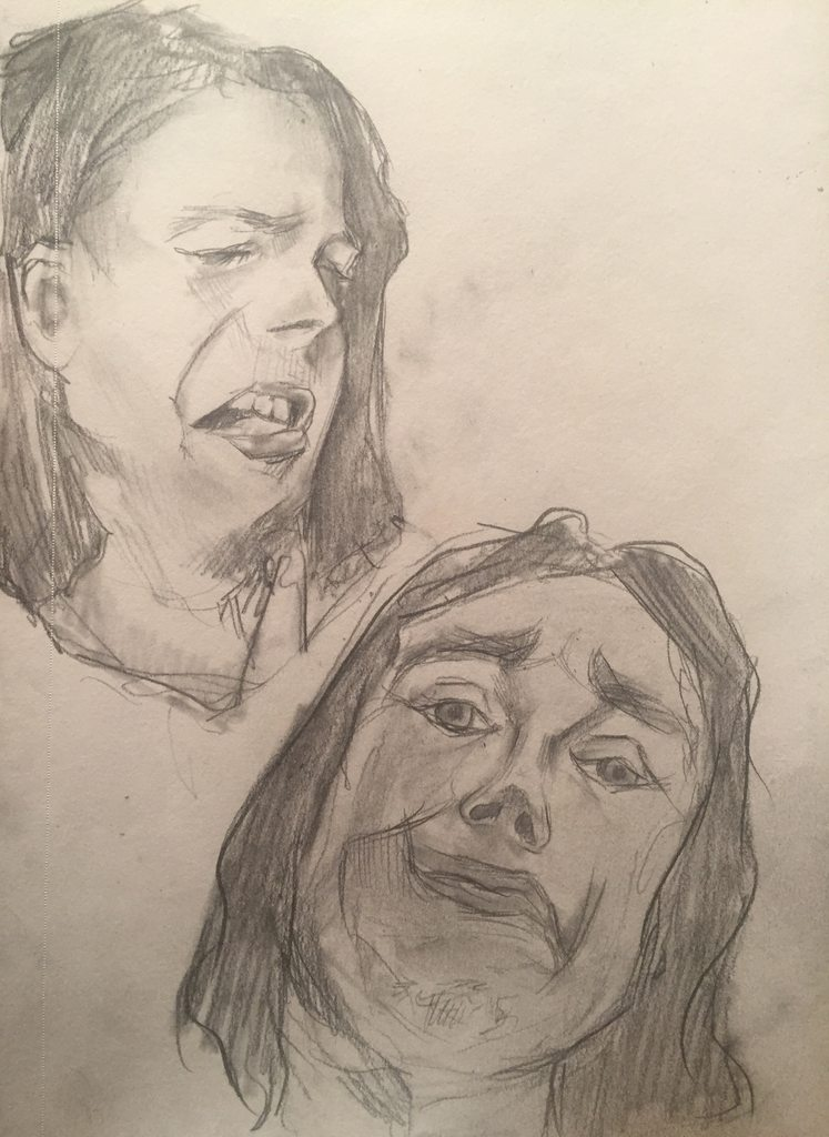 Two drawings of Bucky Barnes making very silly faces.
