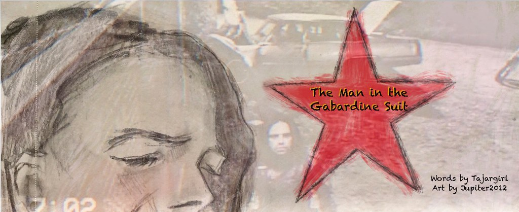 Banner: collage of photos of Bucky Barnes titled The Man in the Gabardine Suit.