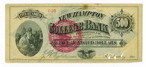 $500 New Hampton College Bank Currency