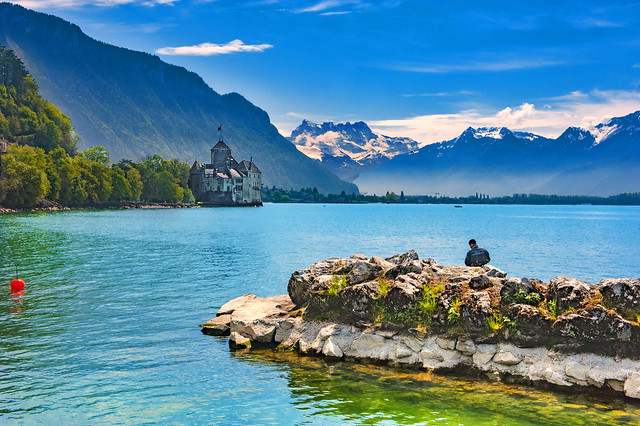 Smoke on the water, Spring time in Montreux & Château de Chillon. Canton of Vaud, Switzerland. No. 5550.
