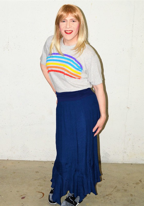 Rainbow shirt and Apt. 9 maxi-skirt