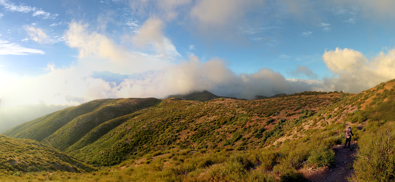 Panorama shot of morning light and forming storm clouds on the PCT at Upper Lytle Creek Ridge