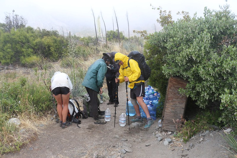 Swarthout Canyon Road water cache for northbound thru-hikers - no more water for 20 miles!