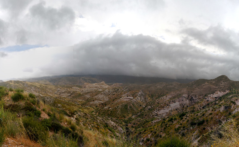 Looking down into Cajon Canyon with plenty of storm clouds above us