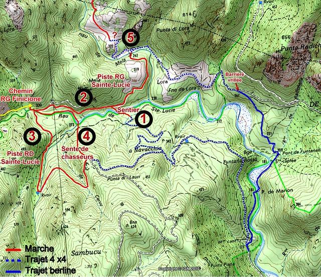 Carte de la Sainte-Lucie et de la Figa Bona dans la Haut-Cavu avec les différents accès au pont de Figa (IGN300) et aux chemins Carciara/Paliri