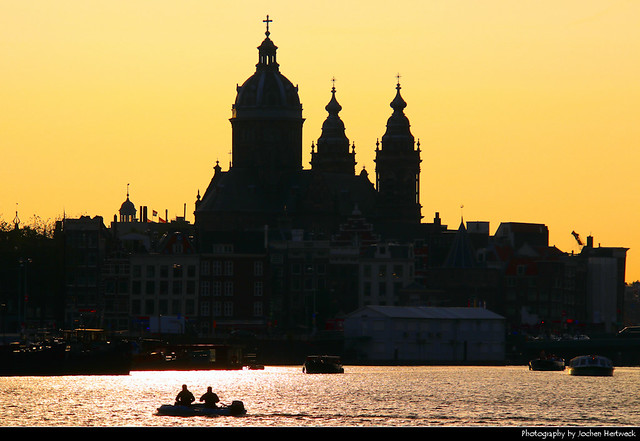 View across Oosterdok at sunset, Amsterdam, Netherlands
