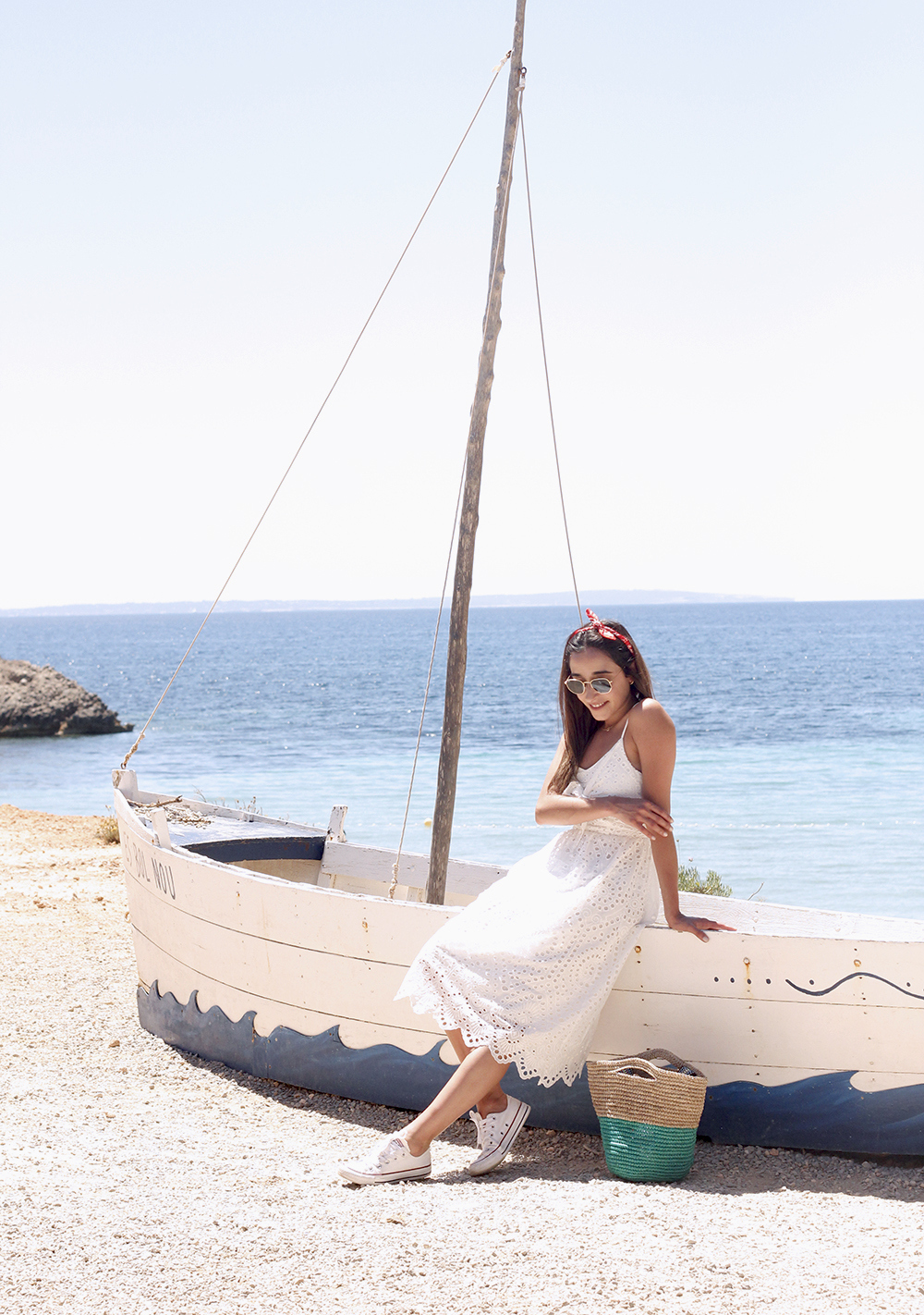 white summer dress white converse rayban sunglasses 2019 street style outfit vacation ibiza8