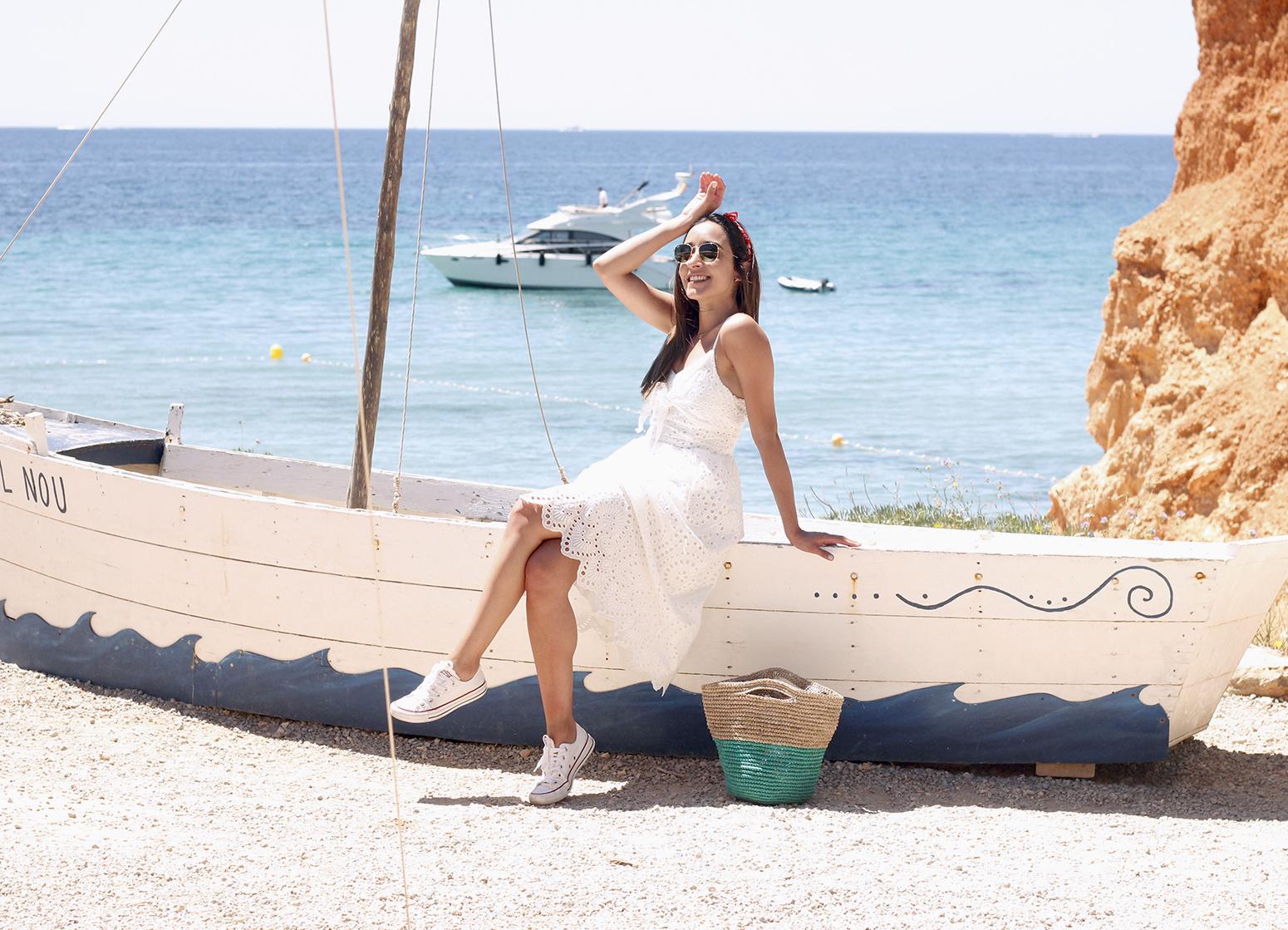 white summer dress white converse rayban sunglasses 2019 street style outfit vacation ibiza4