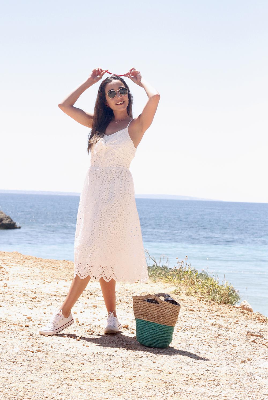 white summer dress white converse rayban sunglasses 2019 street style outfit vacation ibiza2