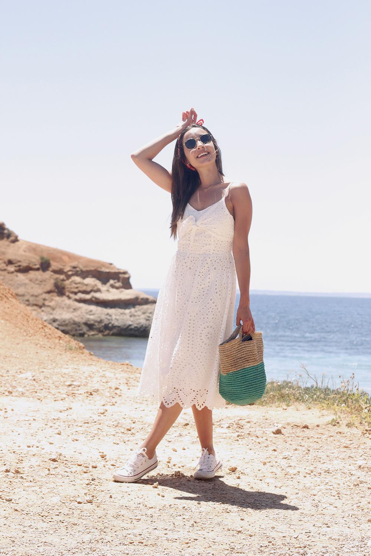 white summer dress white converse rayban sunglasses 2019 street style outfit vacation ibiza1