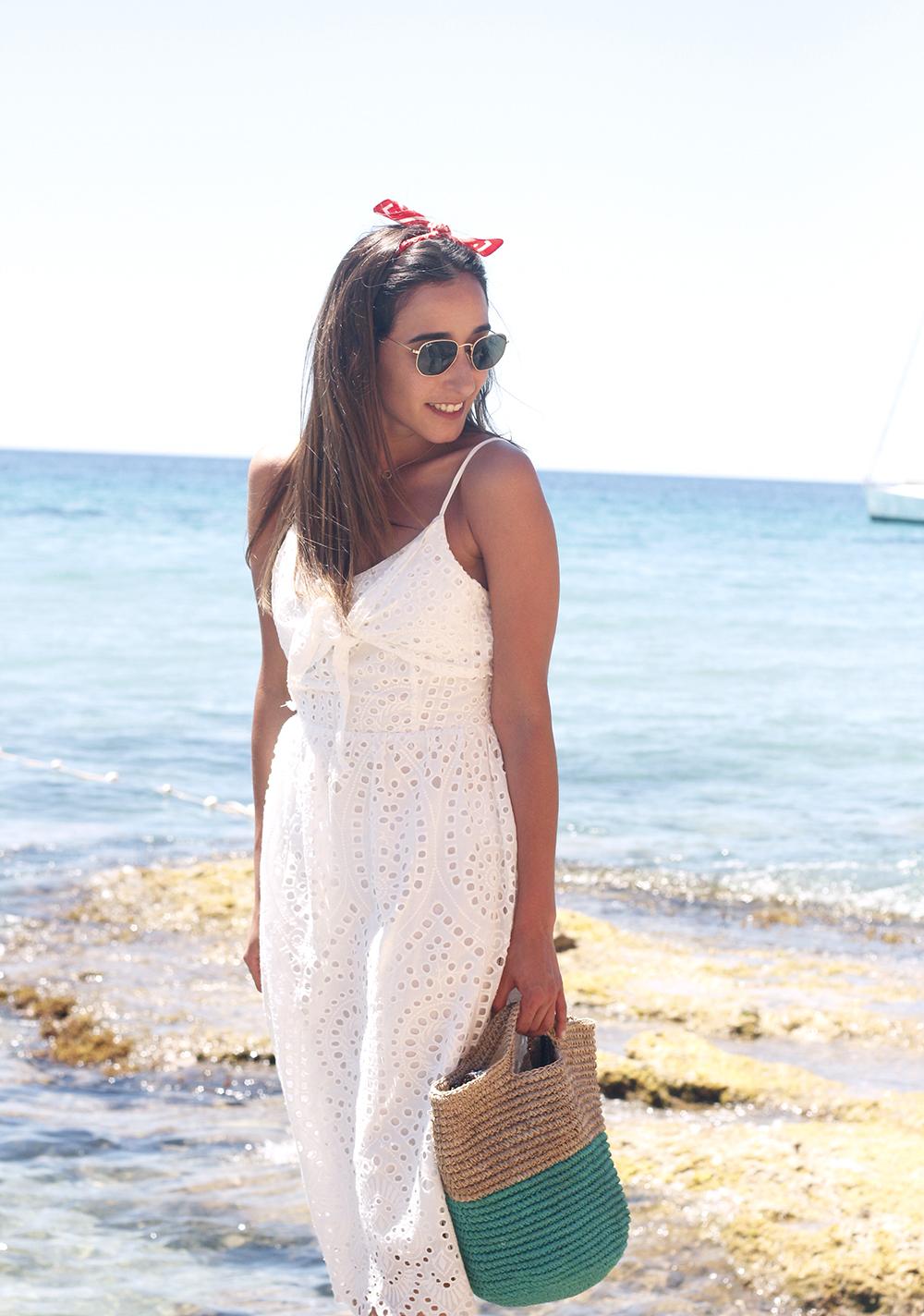 white summer dress white converse rayban sunglasses 2019 street style outfit vacation ibiza12