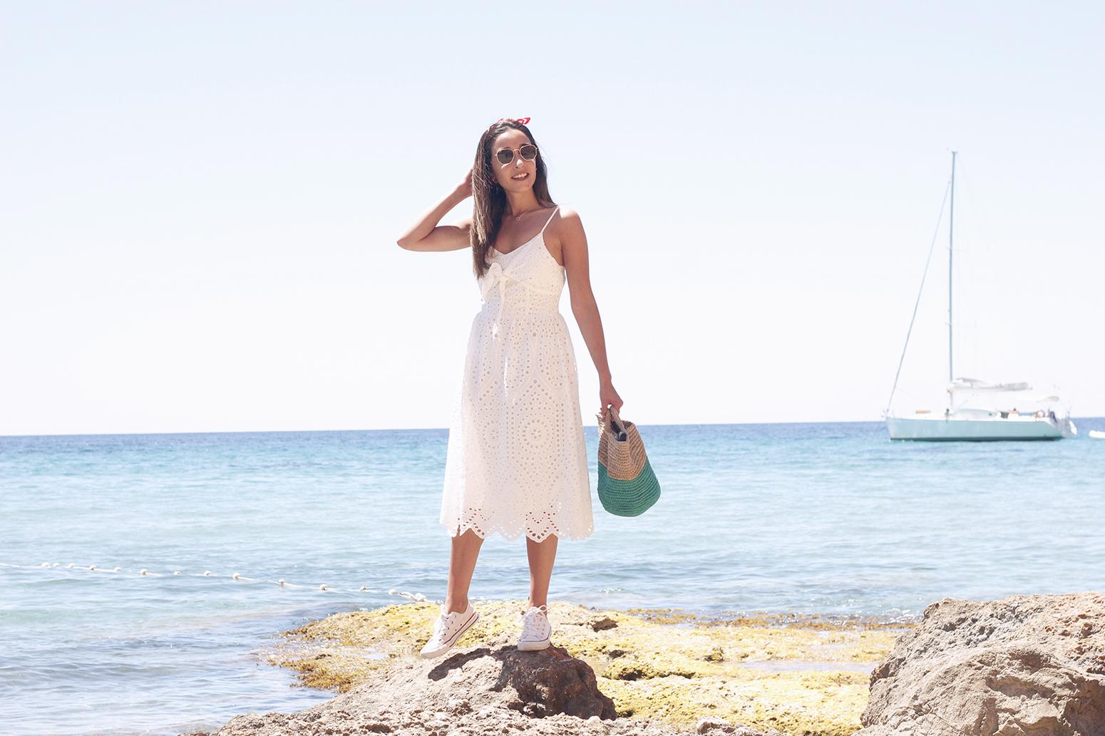 white summer dress white converse rayban sunglasses 2019 street style outfit vacation ibiza11