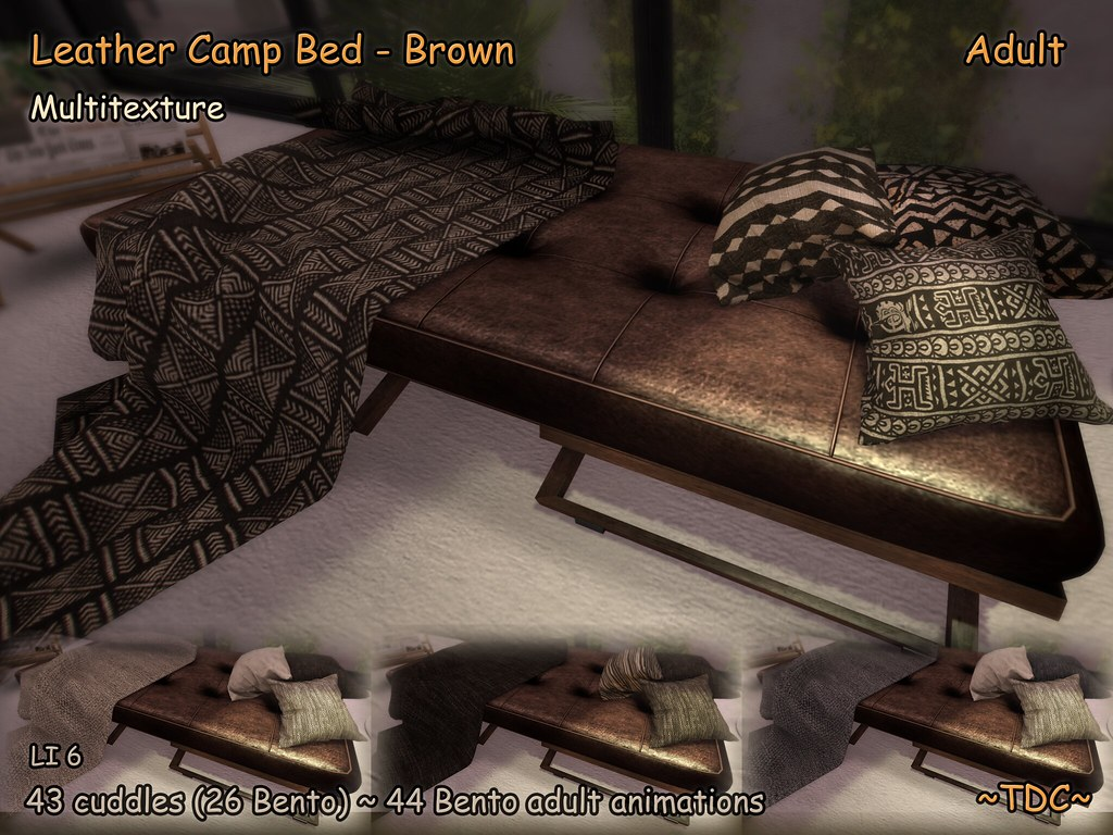 ~TDC~Leather Camp Bed Brown – Adult