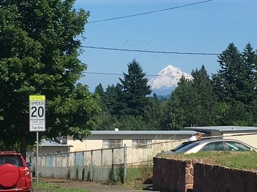 Mount Hood looms distantly over Bridger school