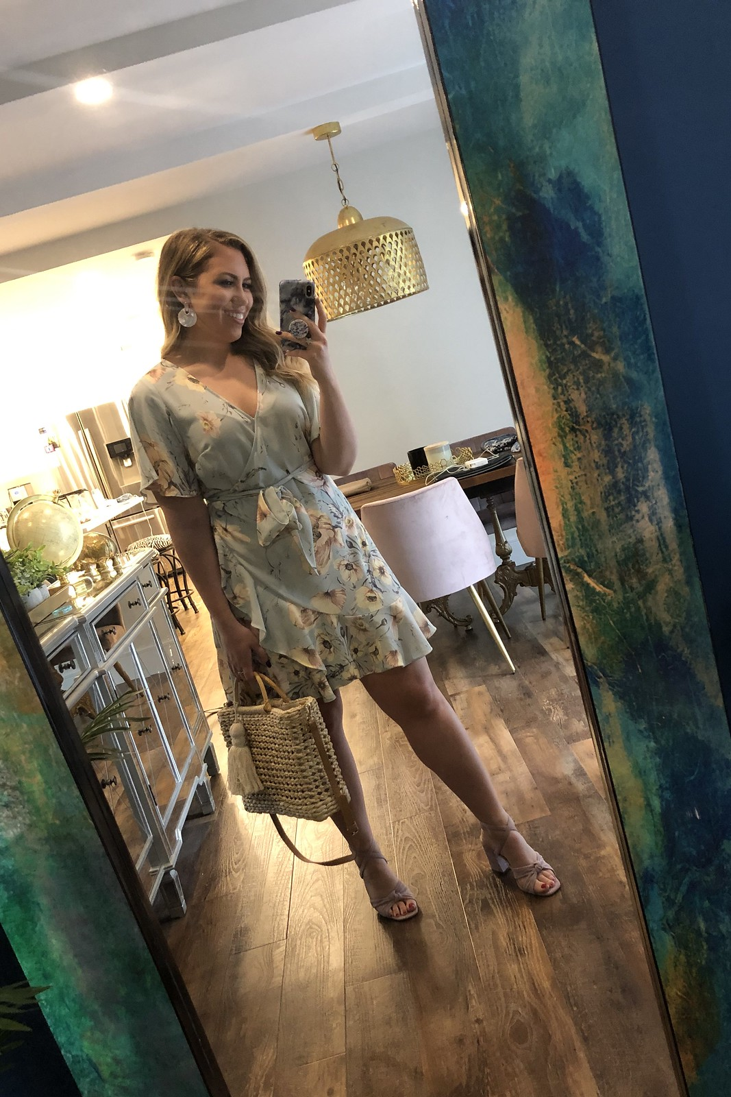 H&M Mint Floral Print Wrap Dress