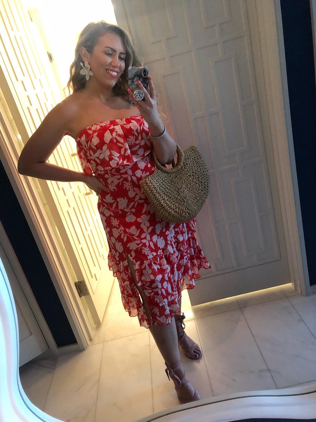 Lulu's Red Floral Print Dress