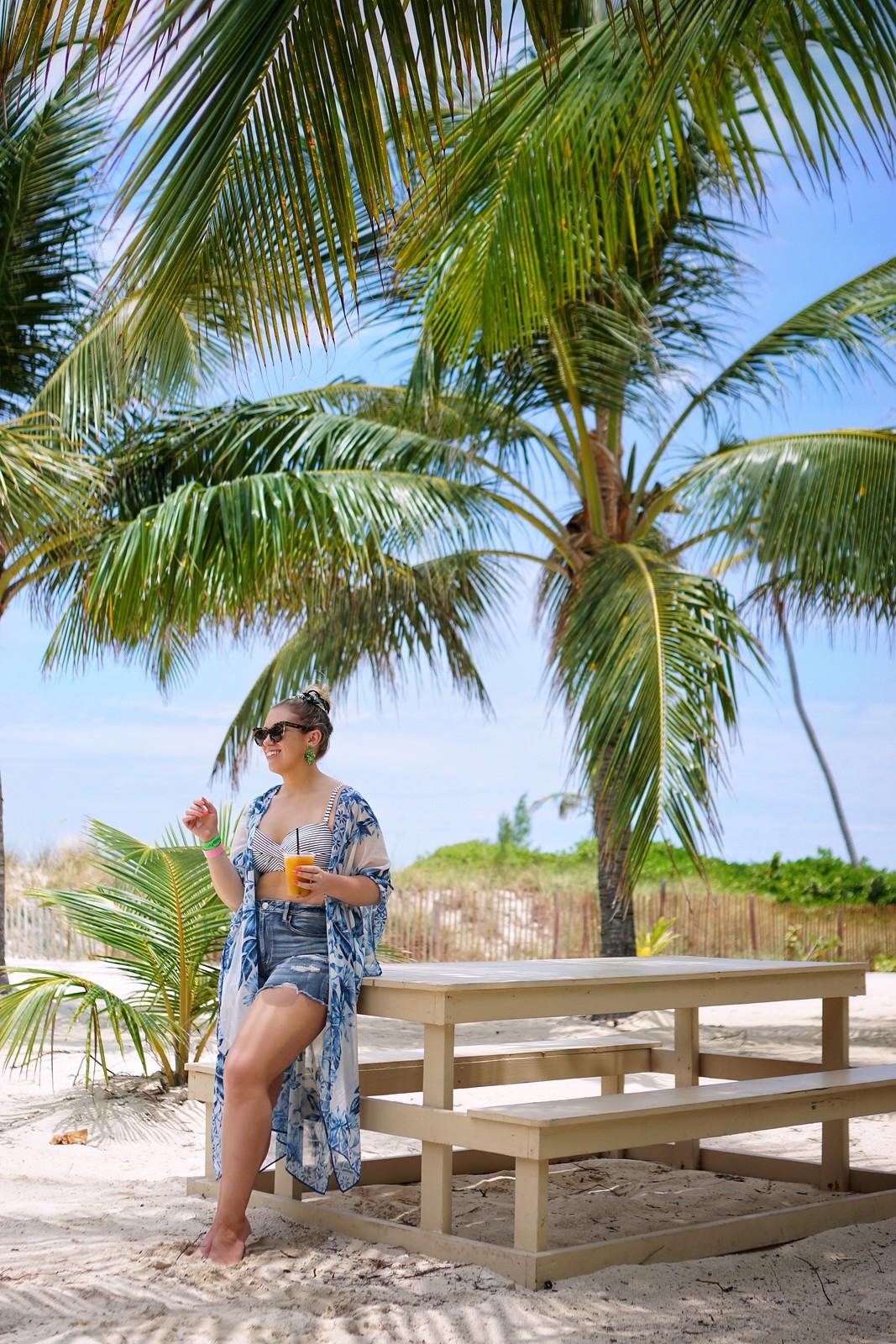 Bahamas Blue Lagoon Island Private Island H&M Kimono and Striped Bathing Suit