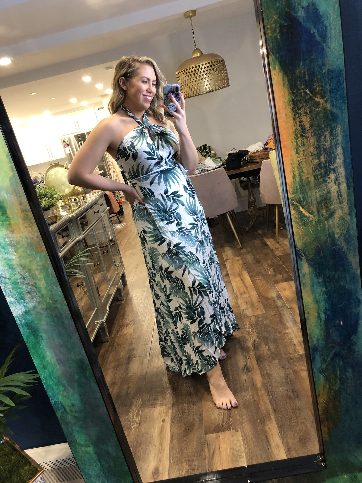 Lulu's Leaf Halter Wrap Dress