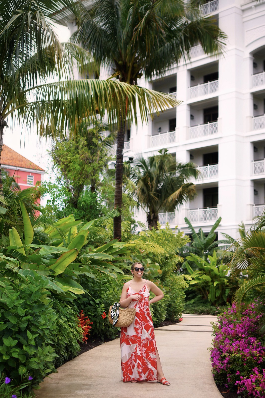 Rosewood Hotel Bahamar Resort Review Red Dress Boutique Red Palm Print Maxi Dress What to Wear in the Bahamas
