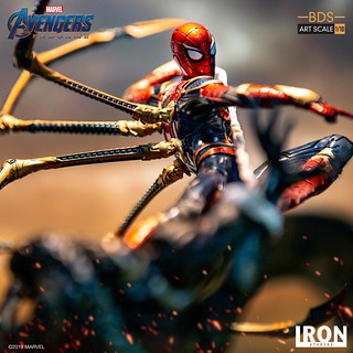 小蜘蛛大顯身手!! Iron Studios Battle Diorama 系列《復仇者聯盟:終局之戰》鋼鐵蜘蛛(Iron Spider) Vs Outrider 1/10 比例決鬥場景雕像作品