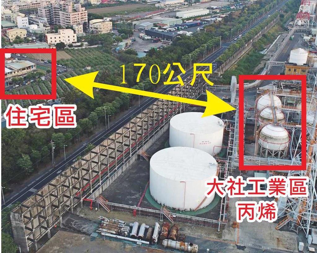大社工業區丙烯儲存槽距離民宅不到200公尺。大社環境守護聯盟提供