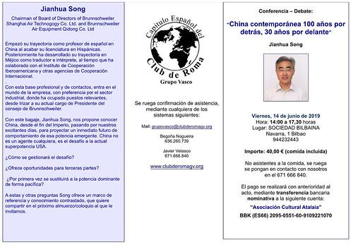 """""""China contemporánea: 100 años por detrás, 30 años por delante» en el Club de Roma (Bilbao)"""