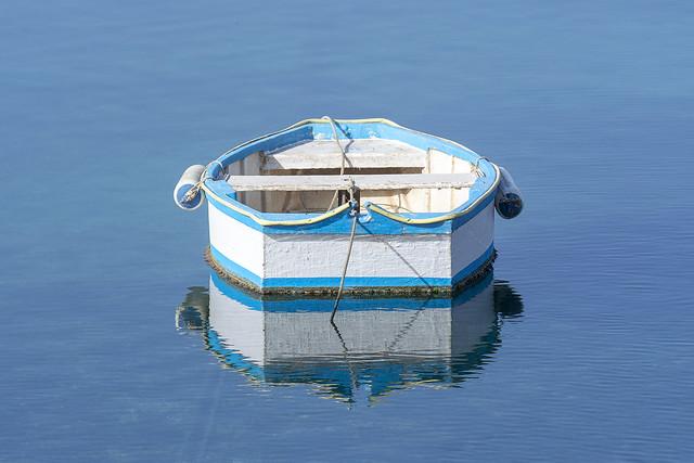 Little boat in the lagune of Arrecife