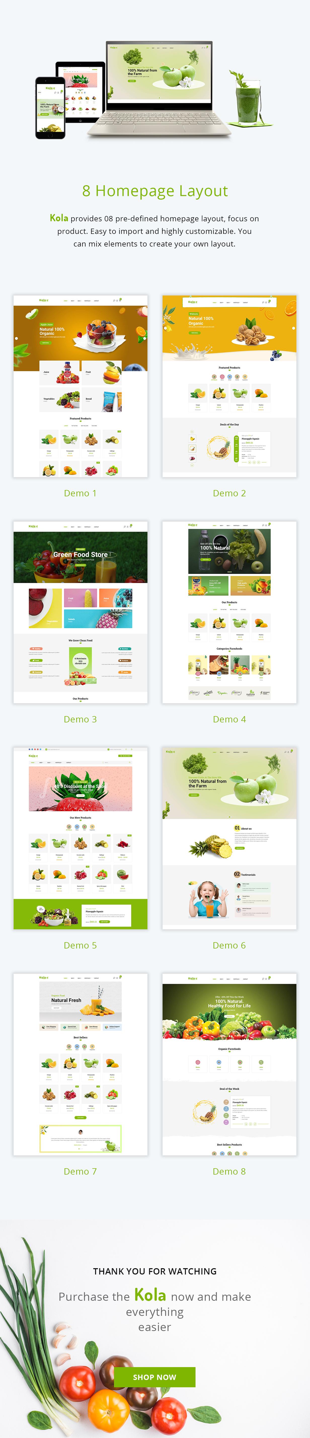 kola-organic-food-prestashop-theme-features