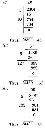 NCERT Solutions for Class 8 Maths Squares and Square Roots Ex 6.4 Q1