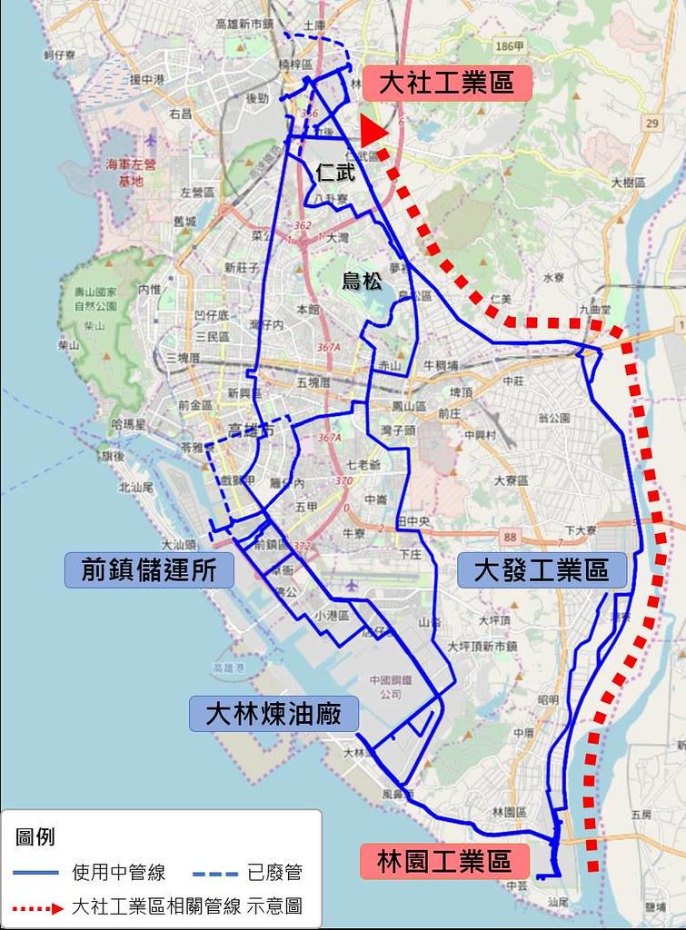 高雄石化管線分布圖,紅色管線直通大社工業區。(資料來源:高雄市經發局 地球公民基金會製圖)