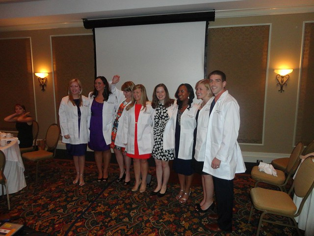 Laura Pratesi is pictured with fellow students at a white coat ceremony