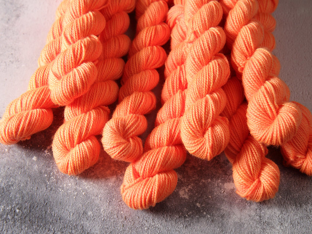 Favourite Sock Minis – pure Merino wool superwash 4 ply / fingering hand dyed yarn 20g miniskeins – 'Traffic Cone'