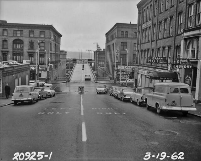 Seneca Street ramp off Alaskan Way Viaduct, 1962
