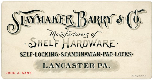 Slaymaker, Barry and Company, Lancaster, Pa., ca. 1890s