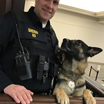 March 19, 2019 - 13:12 - Court Security Category Runner-Up  Chester County (Pa.) Cpl. Matthew Mendenhall and his K-9 partner, Nero, keep watch in the lobby of the Chester County Justice Center in West Chester, Pa.