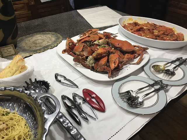 crab, prawns, pasta
