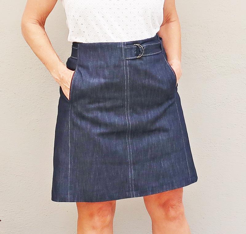 Denim skirt close up