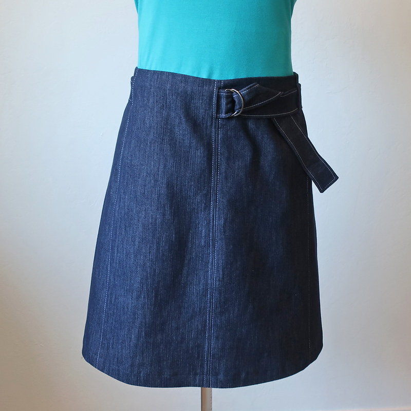 denim skirt front view on form