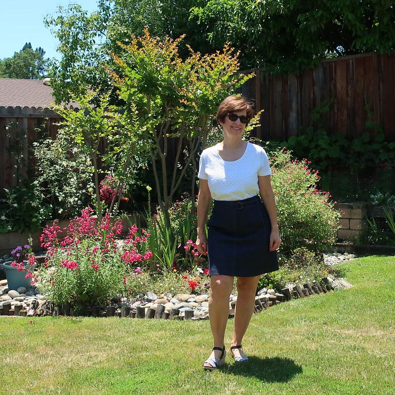Denim skirt backyard view