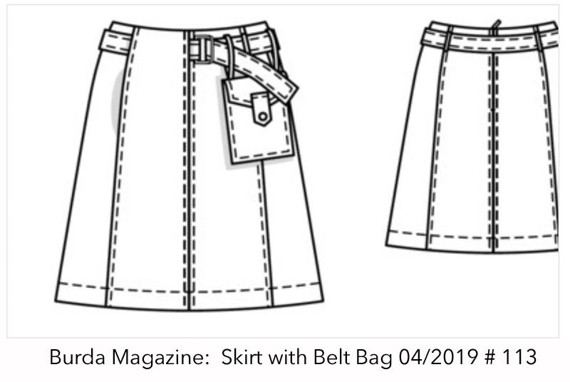Burda Denim Skirt drawing
