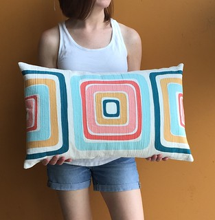 Mid century modern inspired appliqué pillow