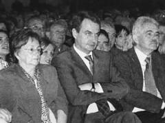 Cristina Real, José Luis Rodríguez Zapatero i Pasqual Maragall durant les eleccions municipals de 2003