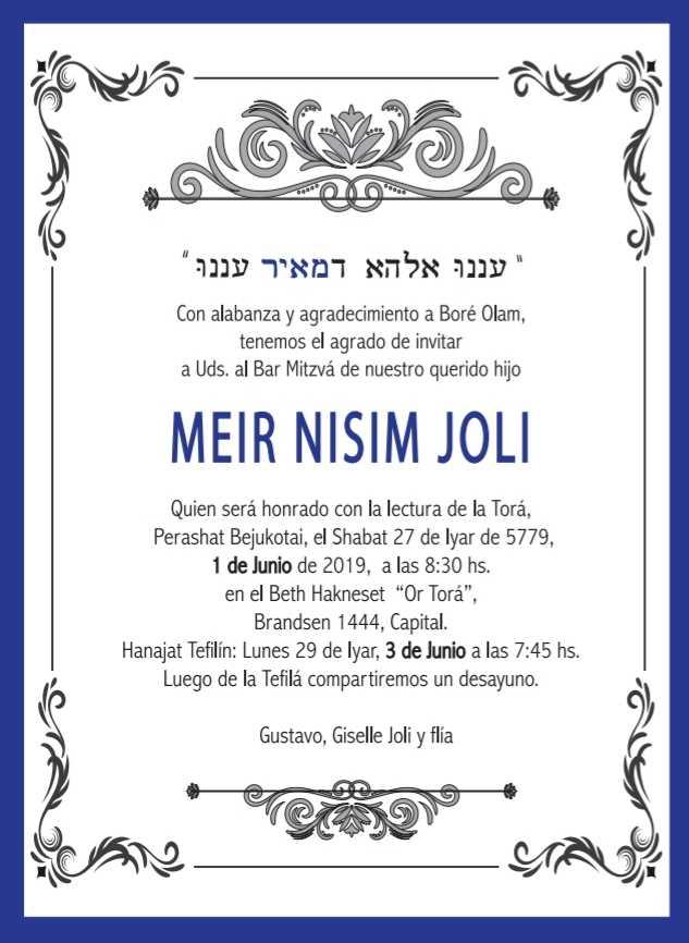 Bar Mitzvá de Meir Nisim Joli
