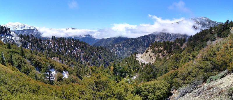 Panorama view south from Blue Ridge with Mount Baldy (left, and Mount Baden-Powell, right