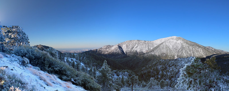 Panorama shot at dawn of Mount Baden-Powell from Inspiration Point