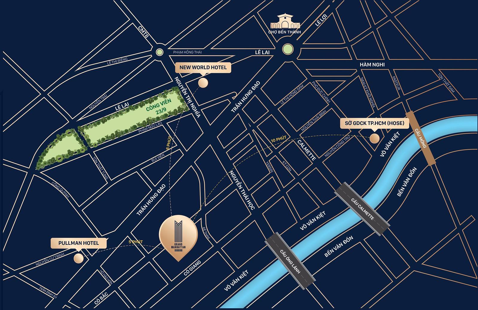 Vị trí của dự án căn hộ The Grand Manhattan
