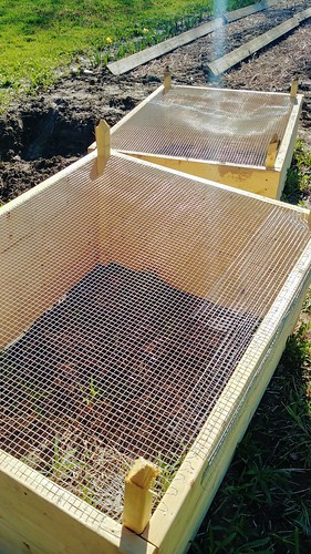 Attaching Hardware Cloth to the Bottom of the Raised Beds