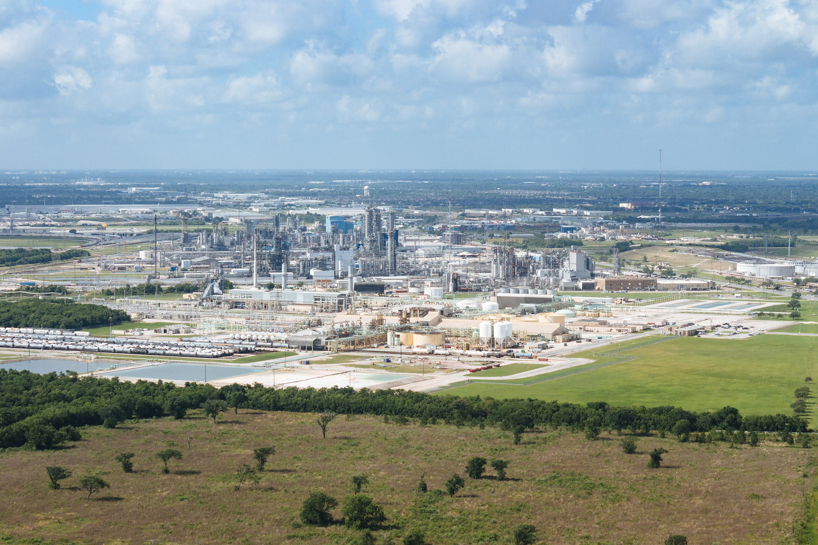A large complex of oil refineries