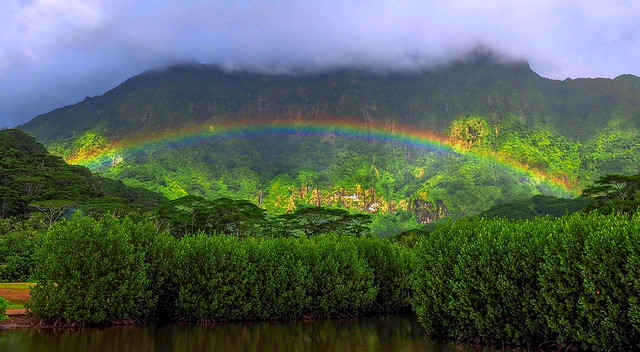 Rainbow under Mount Tefatua