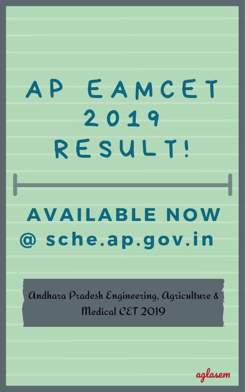 AP EAMCET 2019 Rank Card at sche.ap.gov.in/eamcet